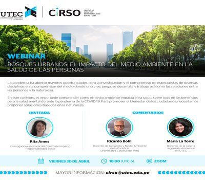 """Webinar: """"Urban forests: The impact of the environment on people's health"""""""