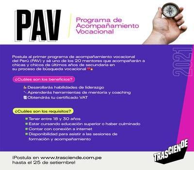 Virtual Volunteering Call: Vocational Accompaniment Program – PAV